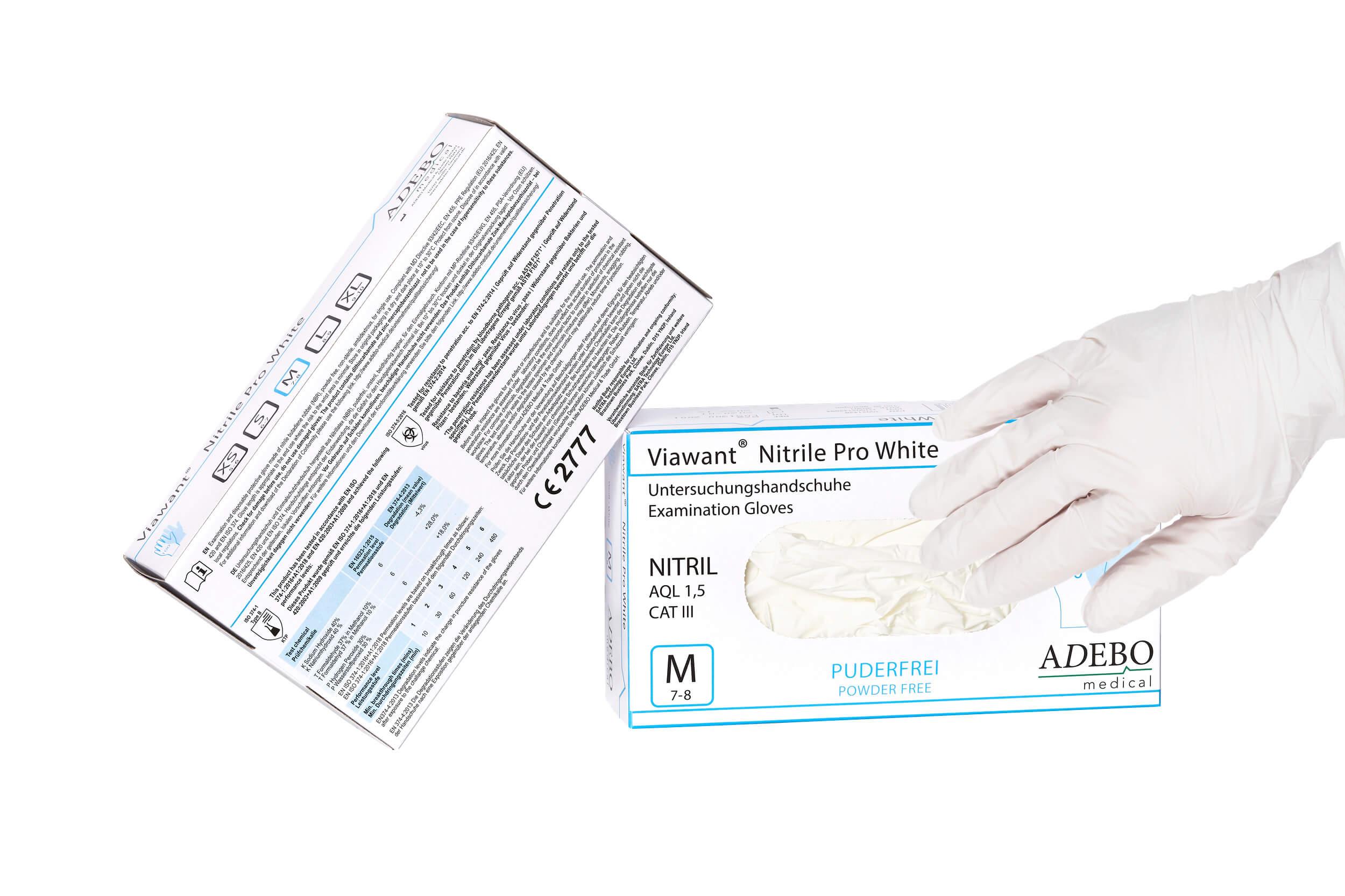 Viawant Nitrile Pro White - Einmalhandschuhe aus Nitril, Farbe: WEISS